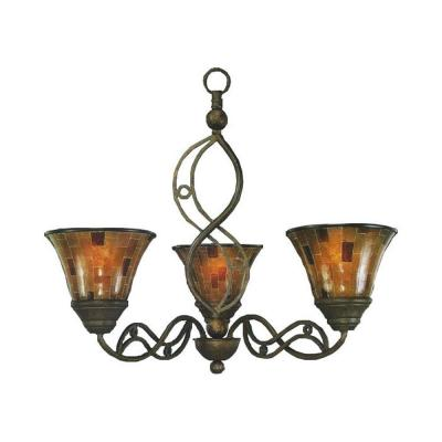 Concord Series 3-Light Bronze Chandelier with Penshell Resin Shade