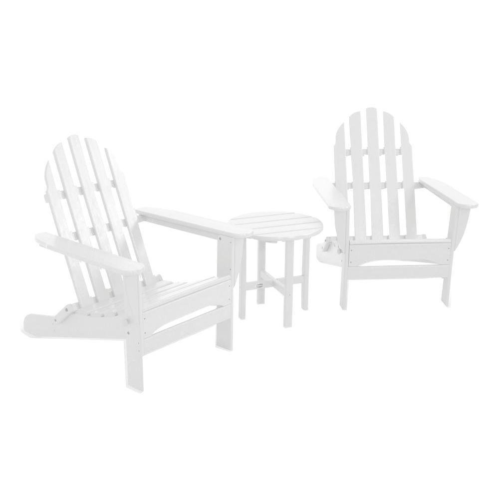 POLYWOOD Classic Folding White 3-Piece Adirondack Patio Seating Set
