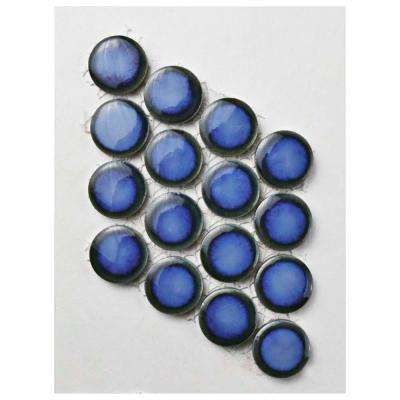 Hudson Penny Round Glossy Sapphire Porcelain Mosaic Tile - 3 in. x 4 in. Tile Sample
