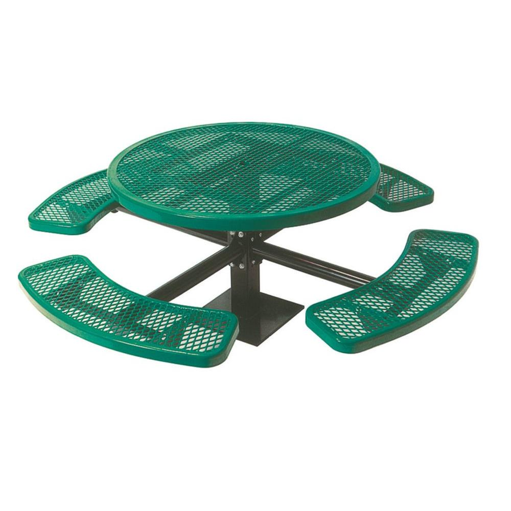 46 in. Diamond Green Commercial Park Round Table Surface Mount