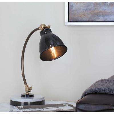 16 in. x 15 in. Modern Iron and Stoneware Task Lamp in Polished Gray