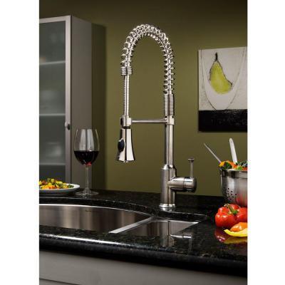 Pekoe Semi-Professional Single-Handle Pull-Down Sprayer Kitchen Faucet in Polished Chrome