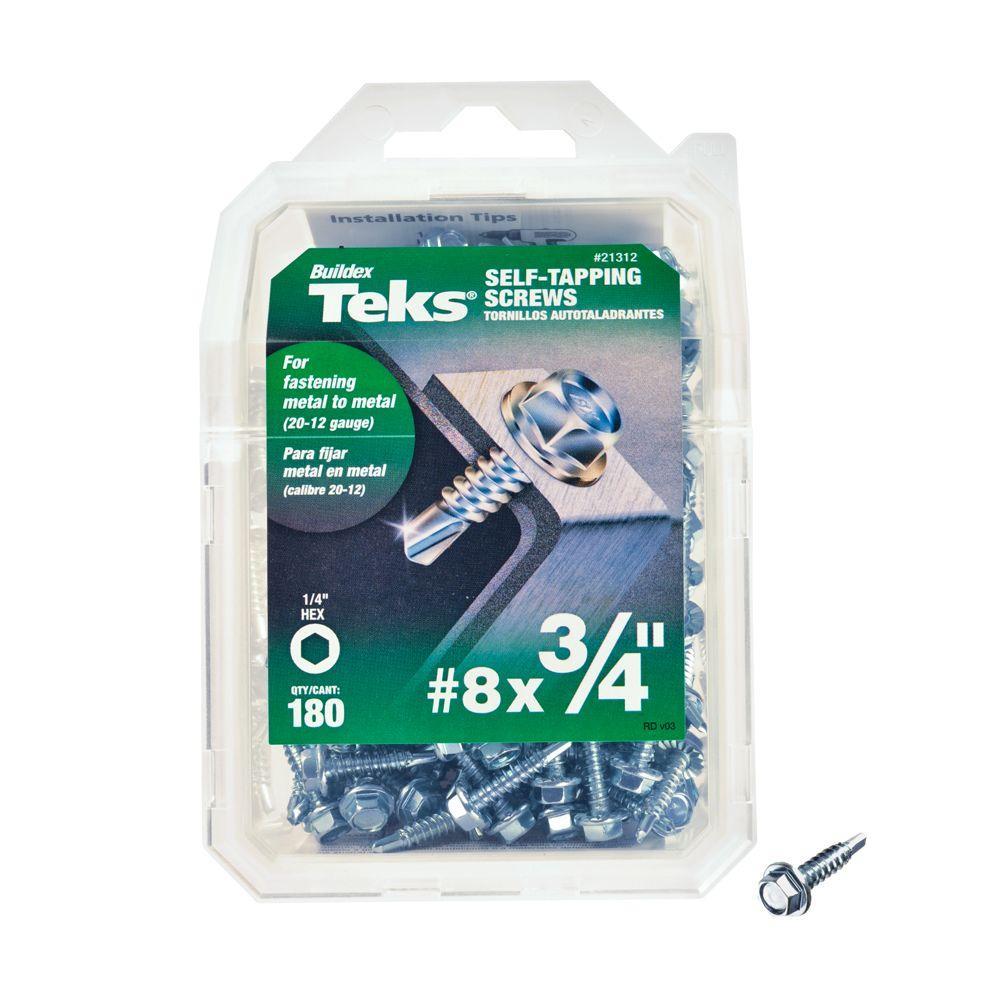 #8 3/4 in. External Hex Flange Hex-Head Self-Drilling Screws (180-Pack)