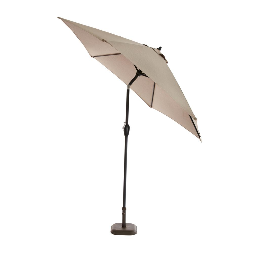 9 ft. Aluminum Push Button Tilt Patio Umbrella in Sunbrella Shale