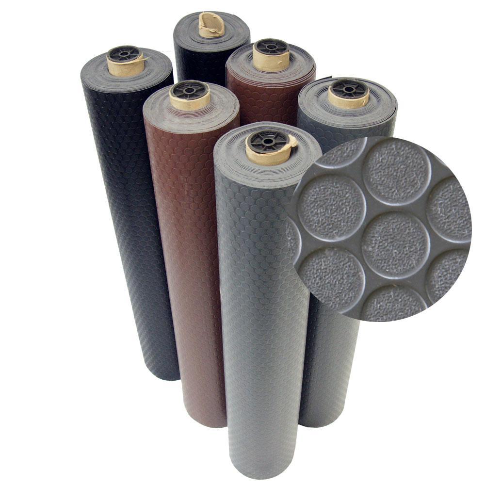 Coin Grip 4 ft. x 25 ft. Black Commercial Grade PVC Flooring