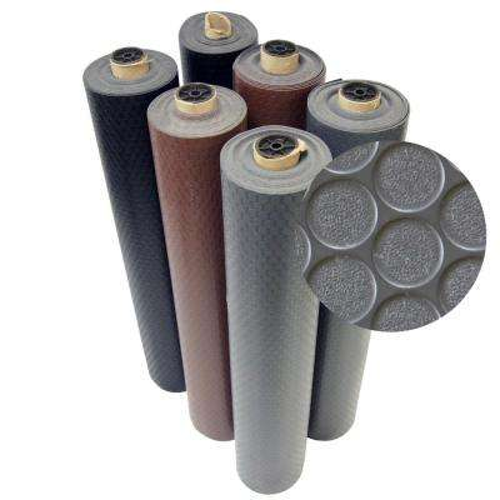 Coin Grip 4 ft. x 6 ft. Dark Grey Commercial Grade PVC Flooring