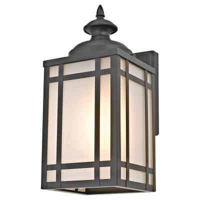 1-Light Black Mission-Style Outdoor Wall Sconce with Frosted Glass