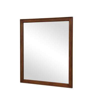 Wagner 32 in. Traditional Mirror with Walnut MDF Frame, Square Shape, Mounting Type: Metal Inset Hanger