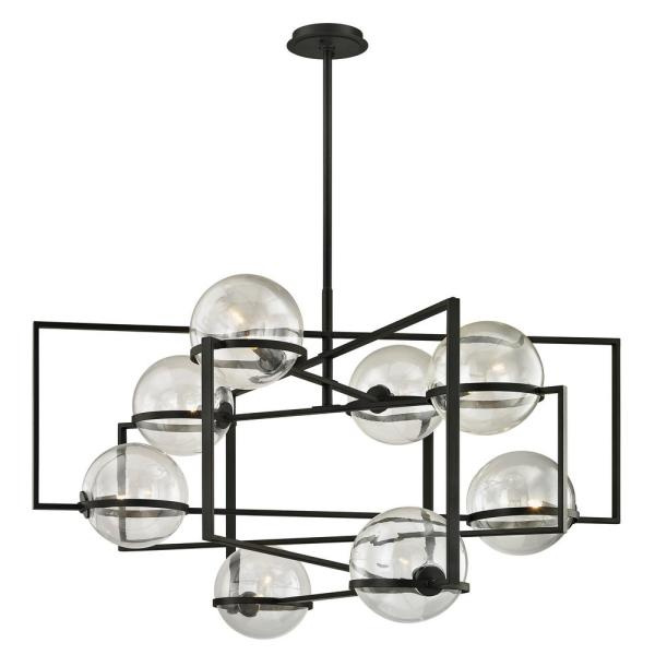 Elliot 8-Light Textured Black 44 in. W Pendant with Clear Glass