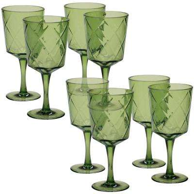 8-Piece 13 oz. Green Acrylic Goblet Glass