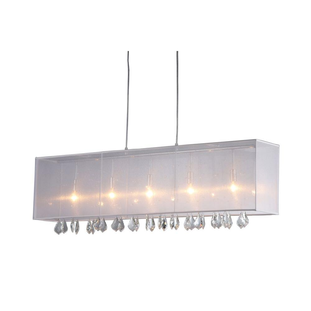 9b6452ea12f Jess 5-Light Chrome Crystal and Mesh Indoor Bar Chandelier with ...