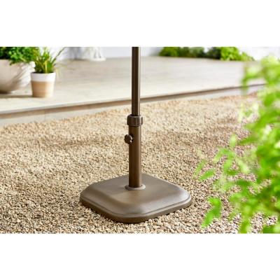 26 lbs. Concrete and Resin Patio Umbrella Base in Brown