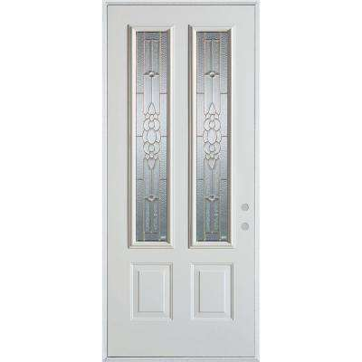 37.375 in. x 82.375 in. Traditional Brass 2 Lite 2-Panel Prefinished White Left-Hand Inswing Steel Prehung Front Door