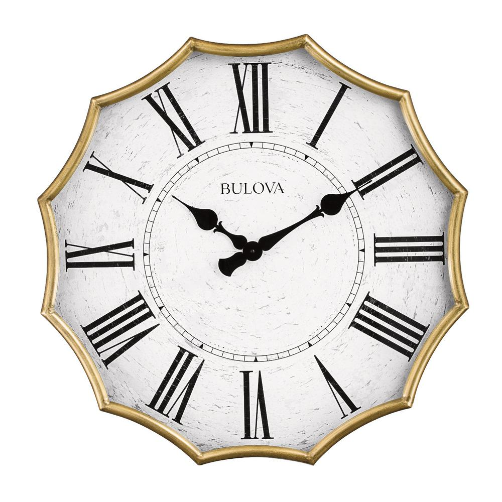 Bulova Oversized Scalloped Edge 28 In Wall Clock With Roman Numerals C4114 The Home Depot