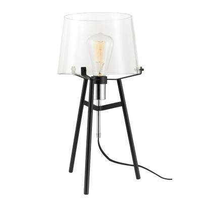 Lancaster 20 in. Black Indoor Table Lamp with Clear Glass Shade