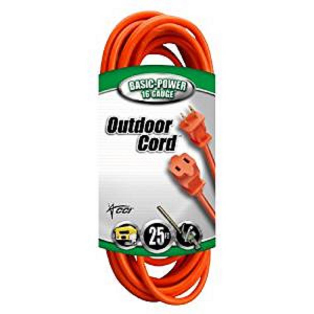 25 ft. 16/2 SJTW Outdoor Light-Duty Extension Cord, Orange
