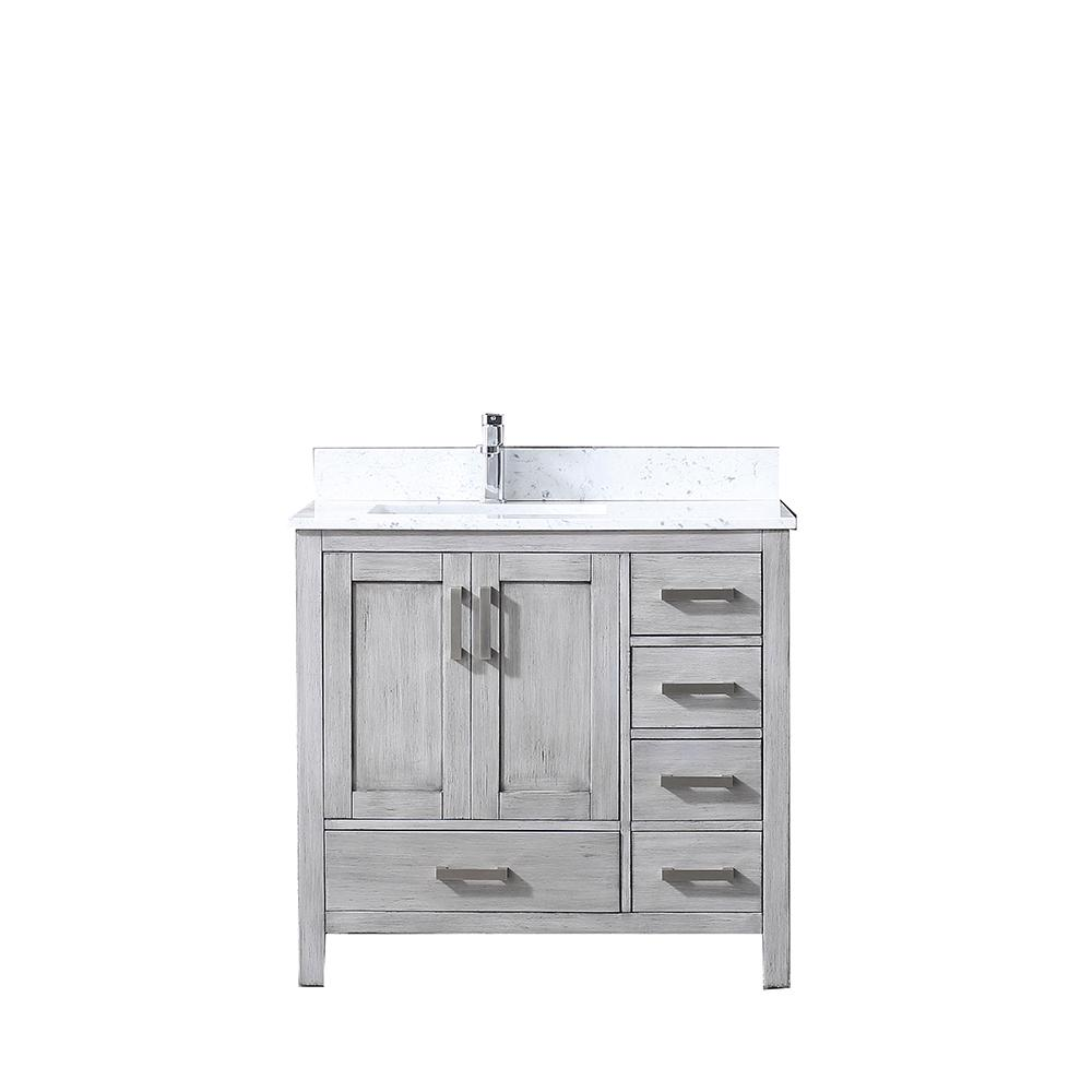 Lexora Jacques 36 in. Single Bath Vanity in Distressed Grey, White Carrera Marble Vanity Top with White Square Sink