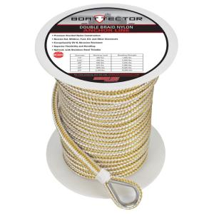 Premium Double Braid Nylon Anchor Rope Line with Thimble 5//8 in x 150 ft Black