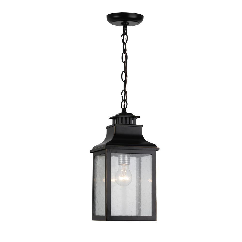 1-Light Imperial Black Outdoor Pendant Light