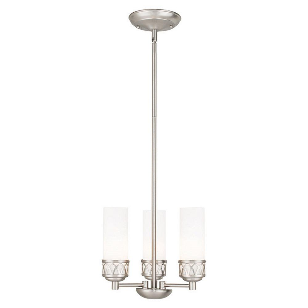 Westfield 3 Light Brushed Nickel Mini Chandelier With Hand Blown Satin Opal