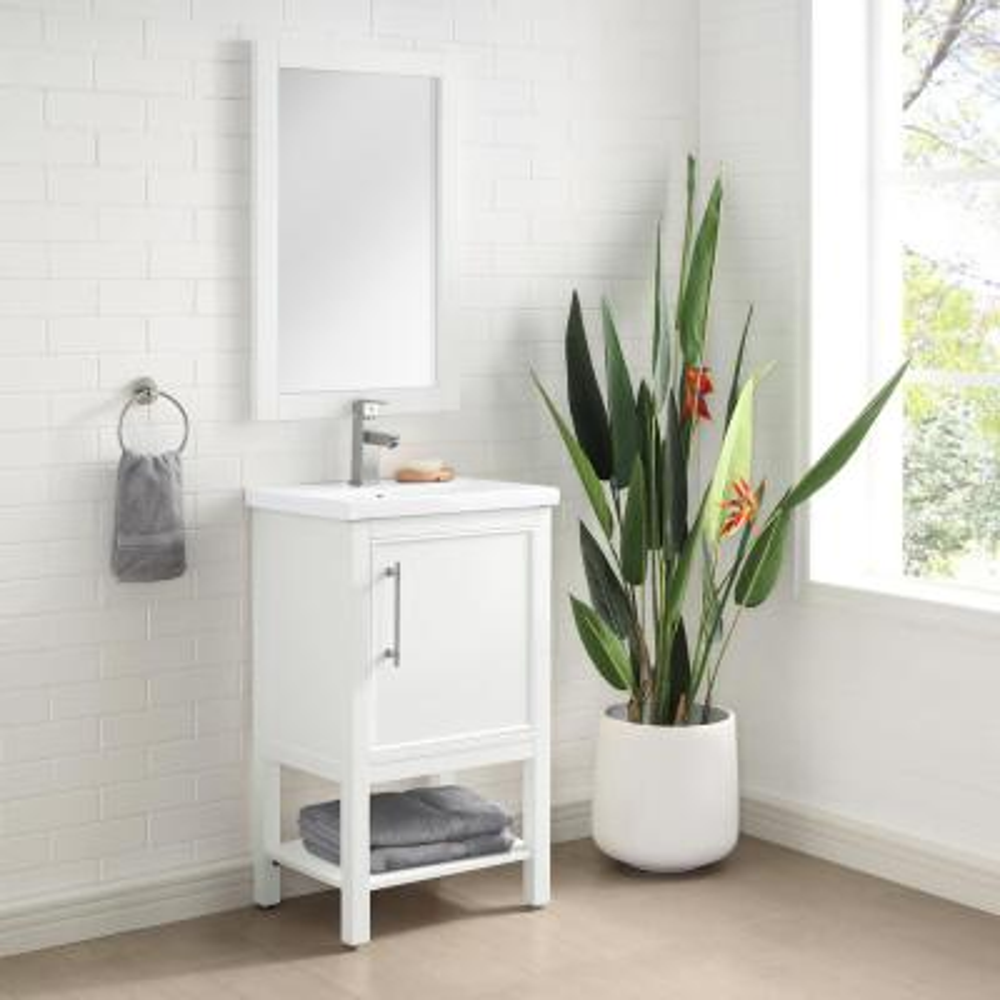 Taylor 20 in. W x 15 in. D x 34 in. H Bath Vanity in White with Ceramic Vanity Top in White with White Basin