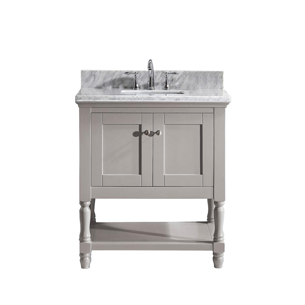 Virtu USA Julianna 32 in. W Bath Vanity in Gray with Marble Vanity Top in White with Square Basin