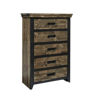 Renegade 5-Drawer Black and Honey Chest 52 in. x 35 in. x 17 in.