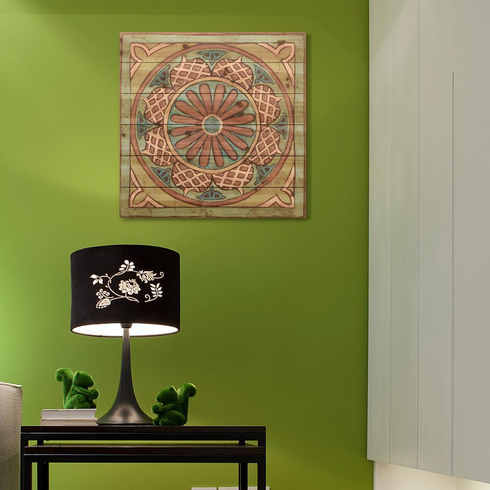 """24 in. x 24 in. """"Ornamental Tile 1"""" Arte de Legno Digital Print on Solid Wood Wall Art"""