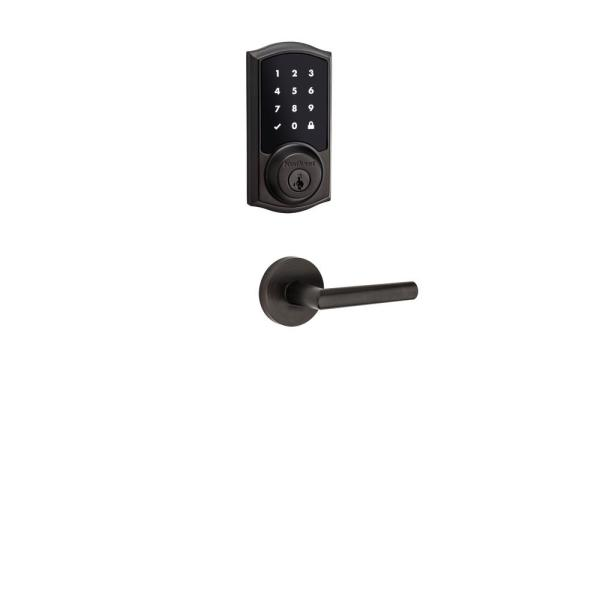 Premis Touchscreen Smart Lock Venetian Bronze Single Cylinder Electronic Deadbolt featuring Milan Hall/Closet Lever