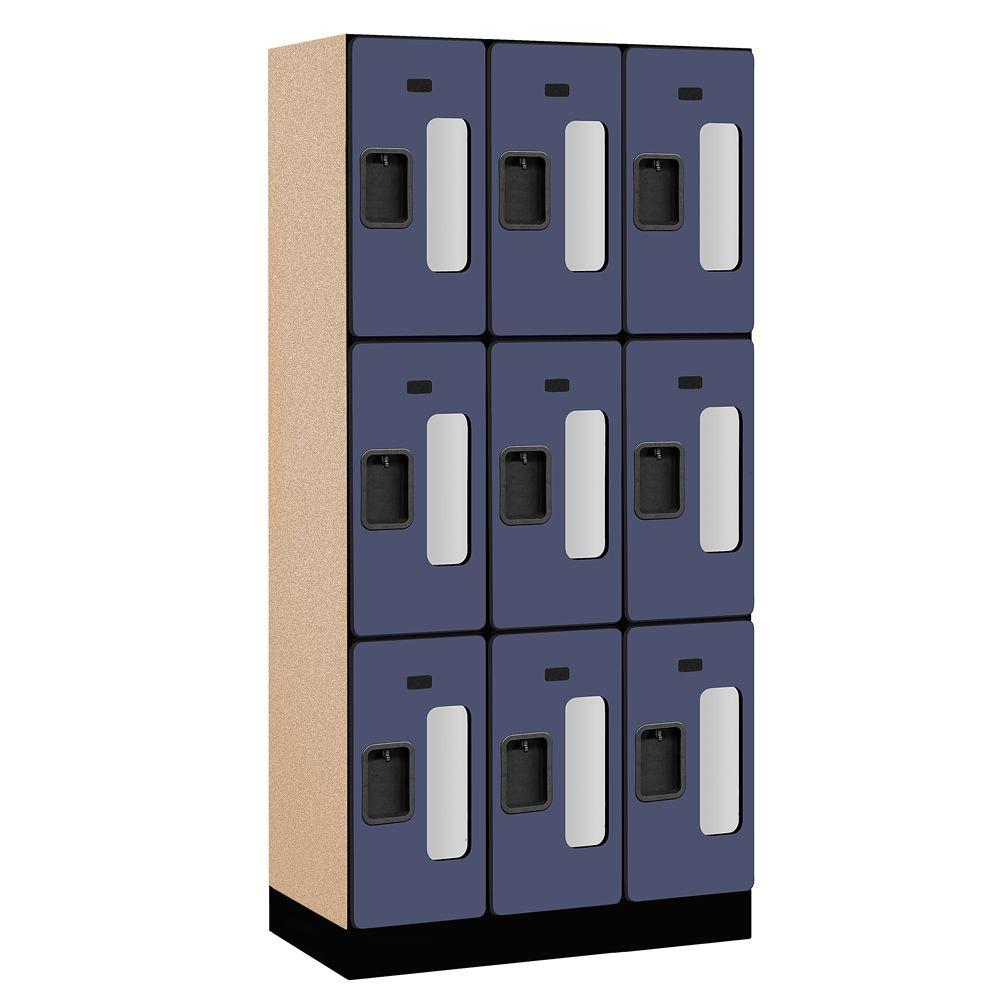 Salsbury Industries S-33000 Series 36 in. W x 76 in. H x 18 in. D 3-Tier See-Through Designer Wood Locker in Blue