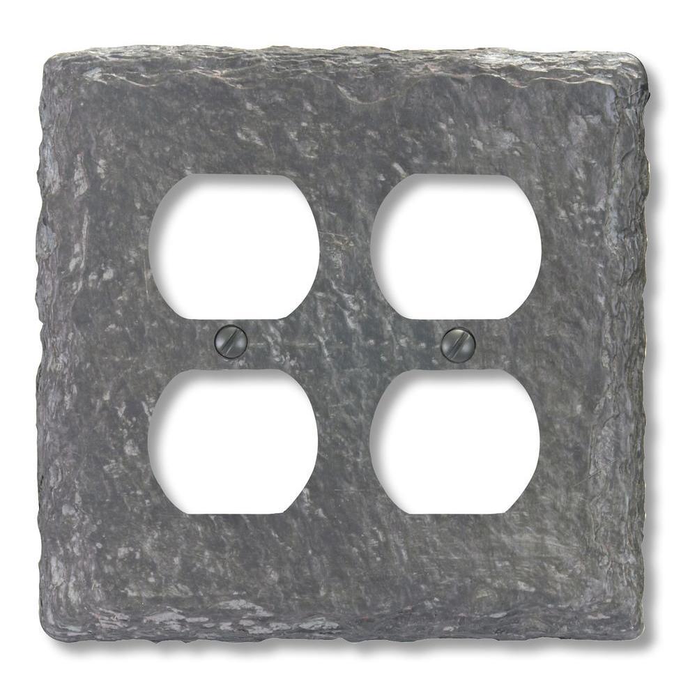 Amerelle Faux Slate Resin 2 Duplex Wall Plate - Grey