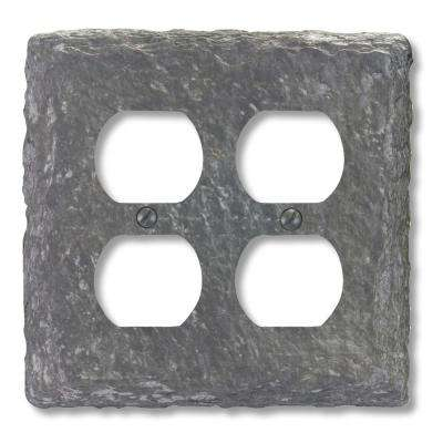 faux slate resin 2 duplex wall plate grey grey almond