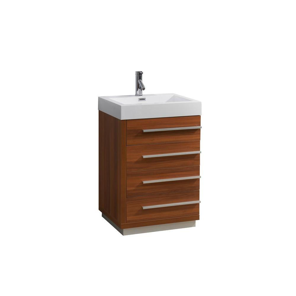 Virtu USA Bailey 24 in. W Bath Vanity in Plum with Polymarble Vanity Top in White Polymarble with Square Basin
