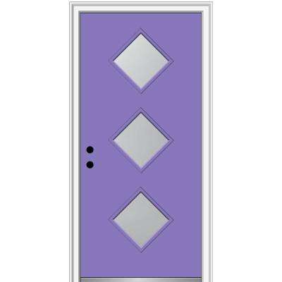 30 in. x 80 in. Aveline Right-Hand Inswing 3-Lite Frosted Glass Painted Steel Prehung Front Door on 6-9/16 in. Frame