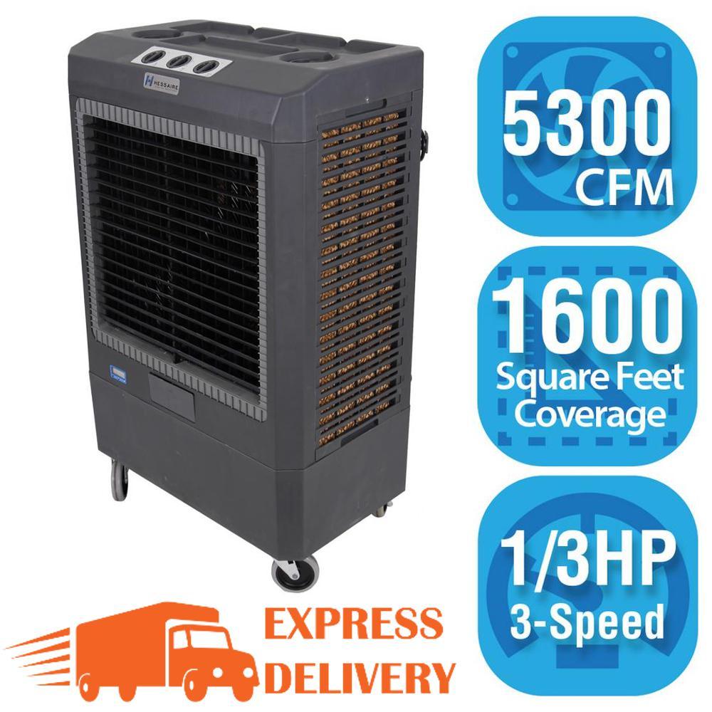 Portable Evaporative Coolers Home Depot : Hessaire cfm speed portable evaporative cooler for