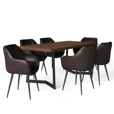 Briar IV 7-Piece Cognac Dining Set with 6-Upholstered Dining Chairs in Faux Leather and 72 in. Wide Table