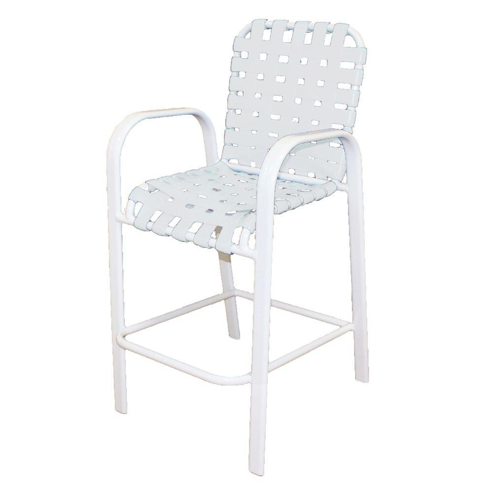 Amazing Marco Island White Commercial Grade Aluminum Vinyl Cross Strap Outdoor Bar Stool In White Ibusinesslaw Wood Chair Design Ideas Ibusinesslaworg