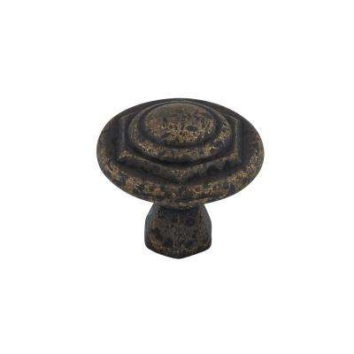 Traditional 1-1/16 in. (27 mm) Spotted Bronze Round Cabinet Knob
