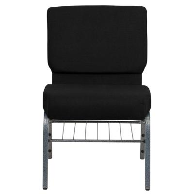 Black Fabric/Silver Vein Frame Stack Chair