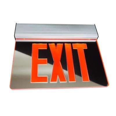 EXL2 Series 3.6-Volt Mirrored Integrated LED Emergency Exit Sign with Red Lettering