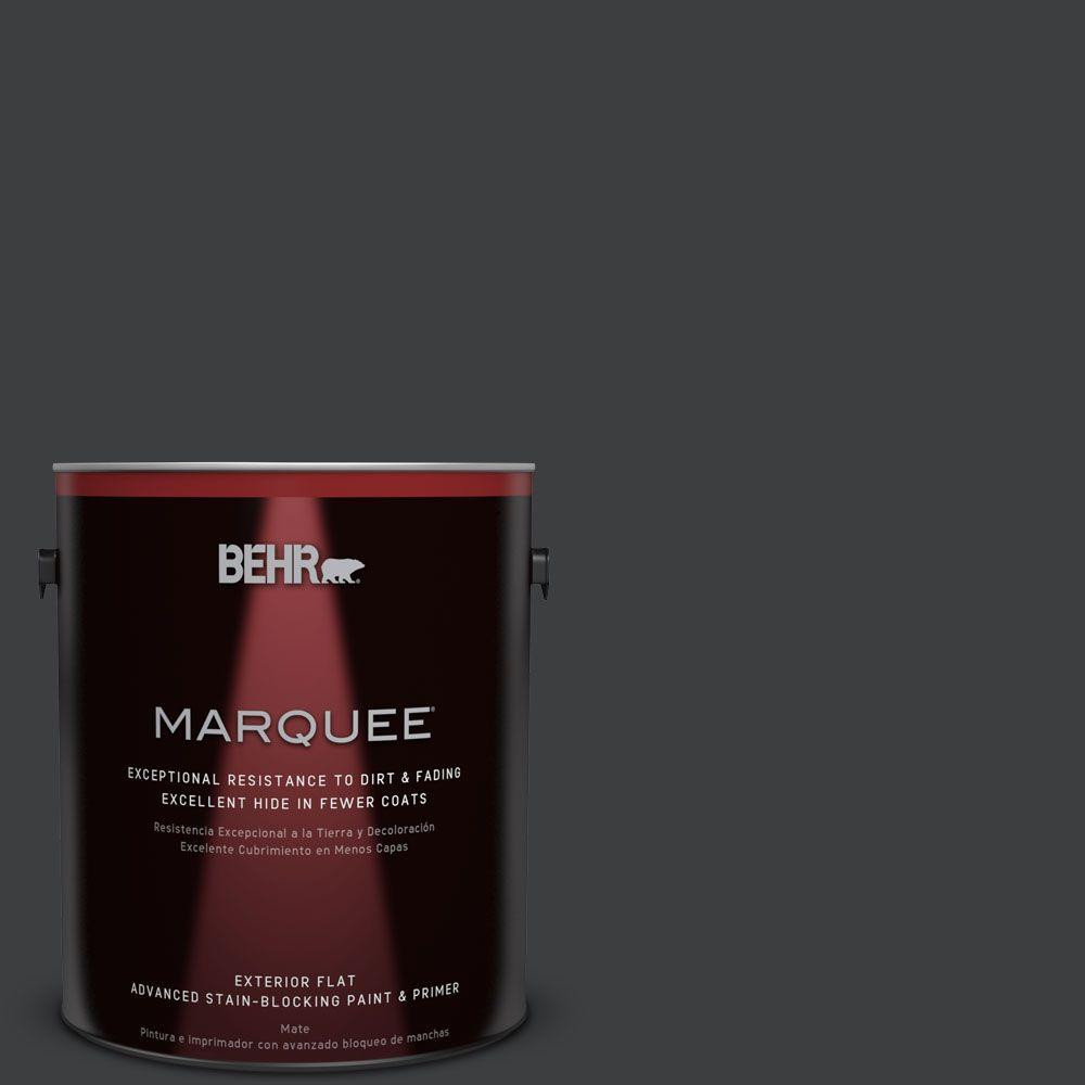 1 gal. #N520-7 Carbon Flat Exterior Paint and Primer in One