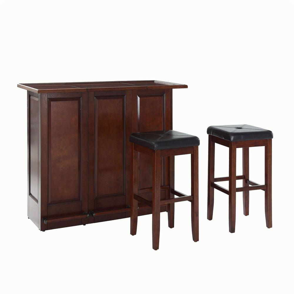 Crosley 48-3/4 in. W Mobile Folding Bar with Two 29 in. Upholstered Square Seat Stools in Mahogany
