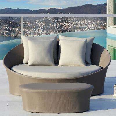 Costa Rica Taupe Aluminum Outdoor Day Bed with Sunbrella Gray Cushions