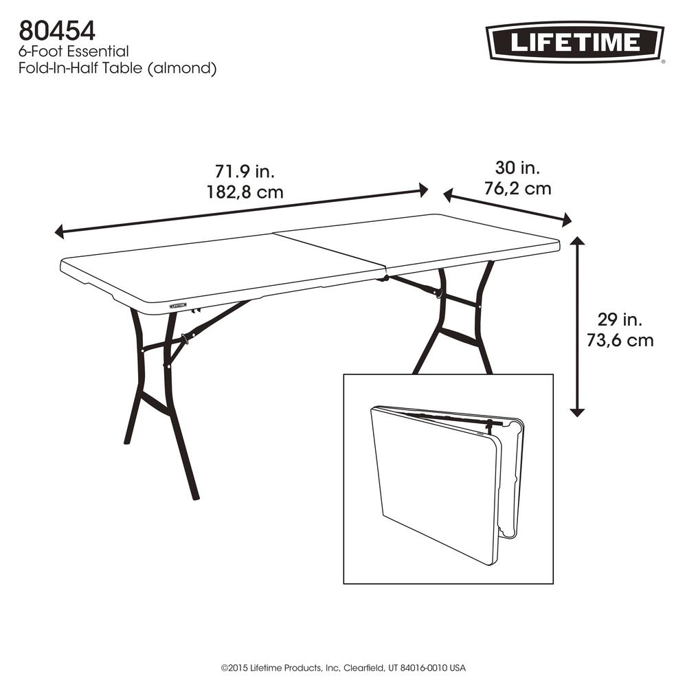 - Lifetime 6 Ft. Fold-in-Half Table: Almond-80454 - The Home Depot