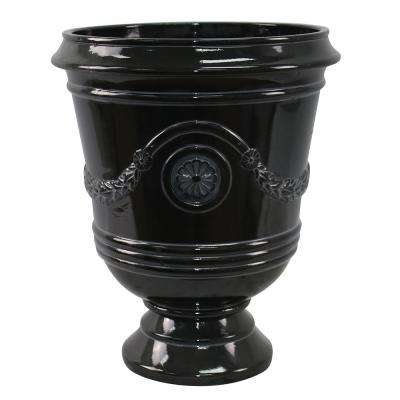 Porter 15.50 in. x 18 in. Black Resin Composite Urn
