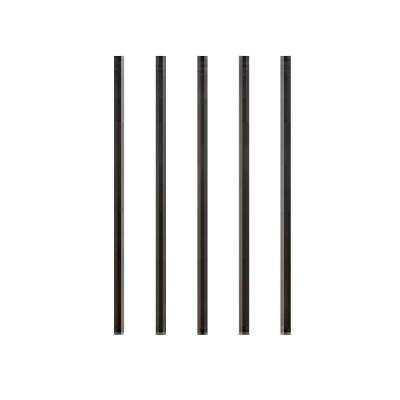 32 in. x 3/4 in. Black Aluminum Round Satin Smooth Deck Railing Baluster with Connectors (5-Pack)
