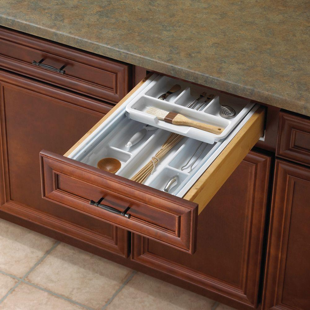null 19.25 in. x 17.75 in. x 3.25 in. Two Tiered Tableware Drawer Organizer