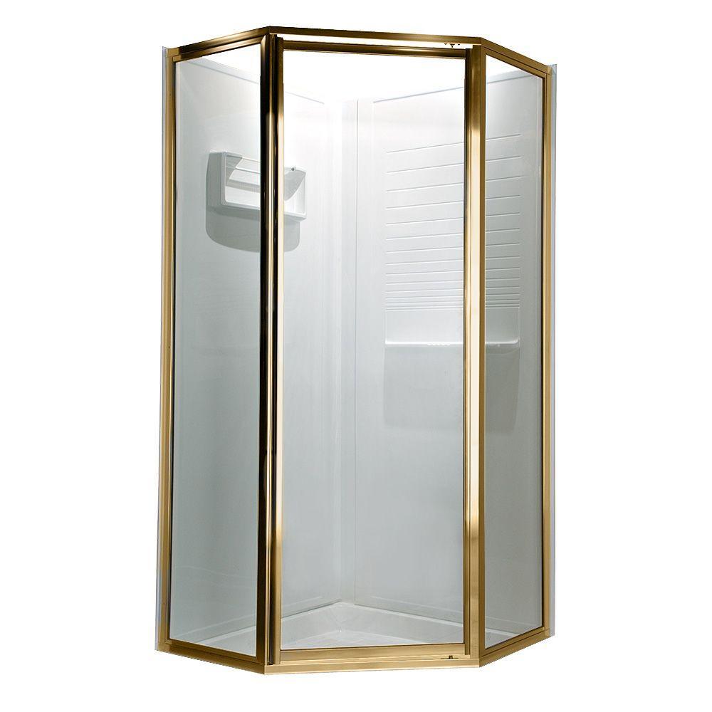 Prestige 61 in. x 68-1/2 in. Neo-Angle Framed Shower Door in Gold