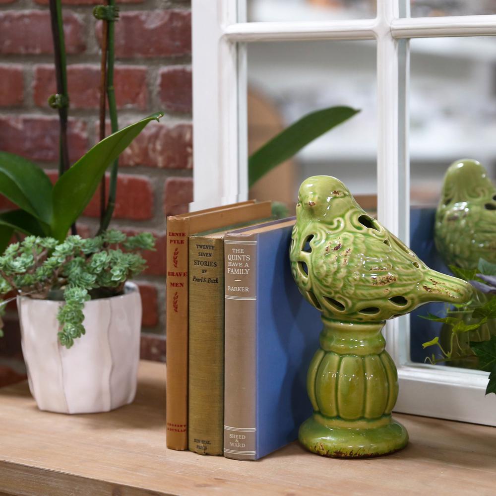11.25 in. H Bird Decorative Figurine in Green Gloss Distressed Finish