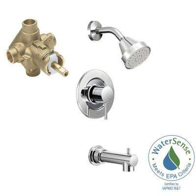 Align Single-Handle 1-Spray PosiTemp Tub and Shower Faucet Trim Kit with Valve in Chrome (Valve Included)